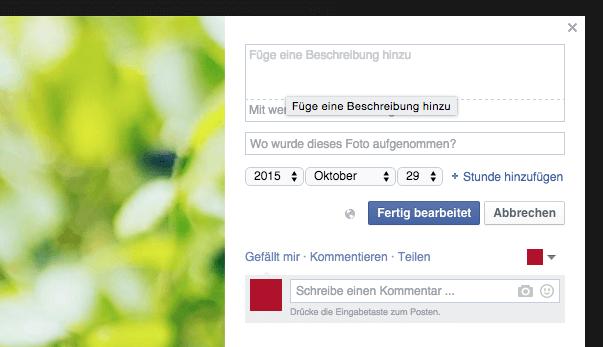 Beschreibung für Bilder bei Facebook