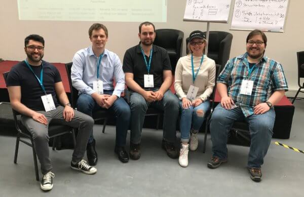 v.l. Babak Mansour, Jan Rieland, Thomas Nieder, Daria Matus, Antonio Canseco Negri beim WordCamp Berlin 2017