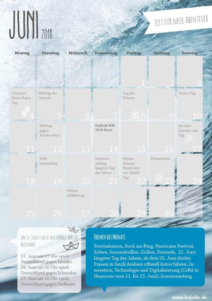 Content Kalender für den Monat Juni - Redaktionsplan im Juni