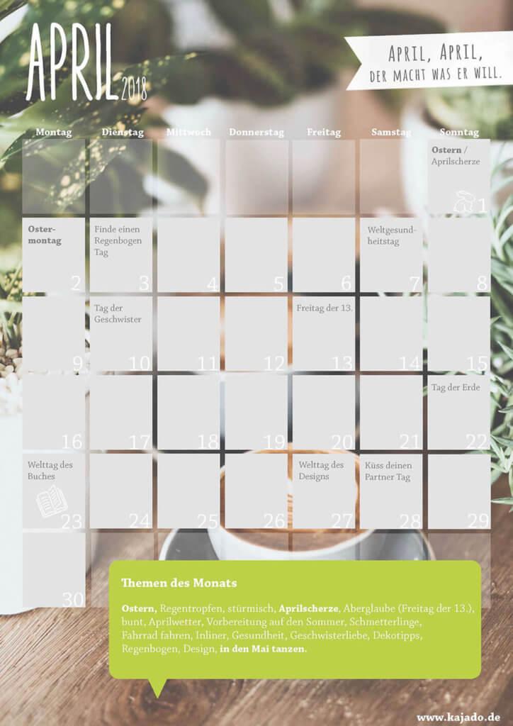 Content Kalender für den Monat April