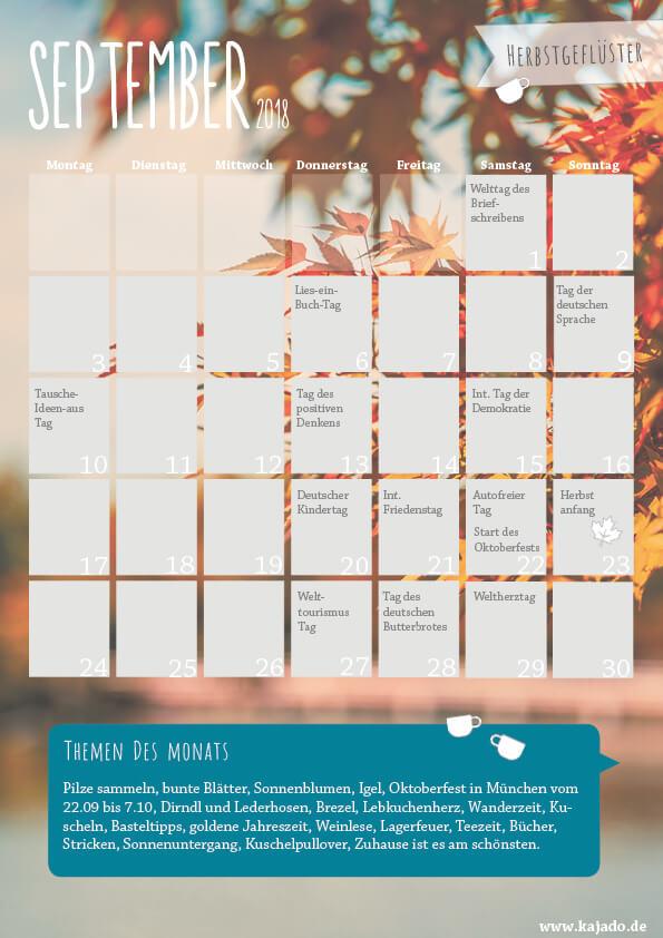 Redaktionsplan und Content Planer für September 2018