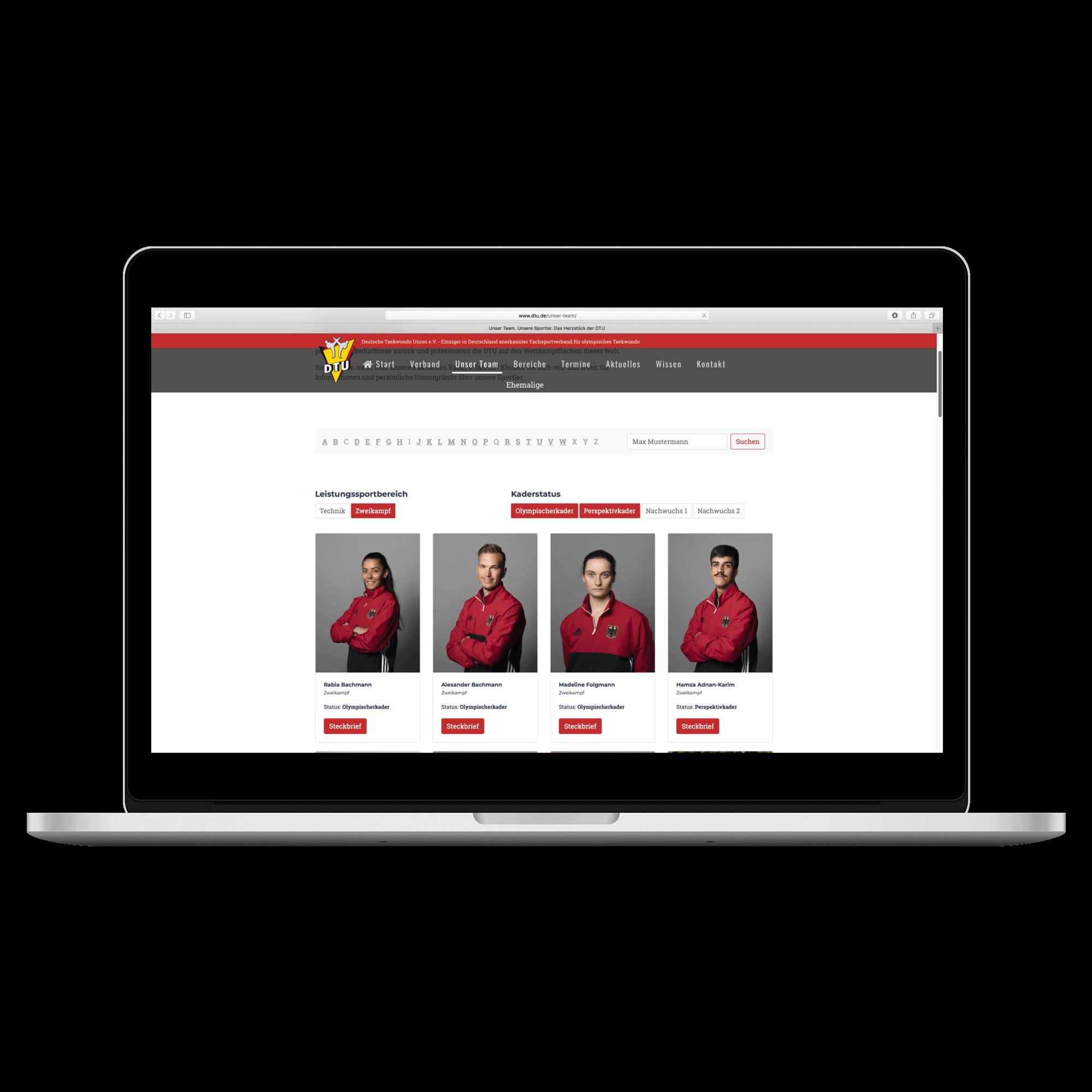 Die Team-Seite ist das Herzstück der TYPO3-Website der DTU