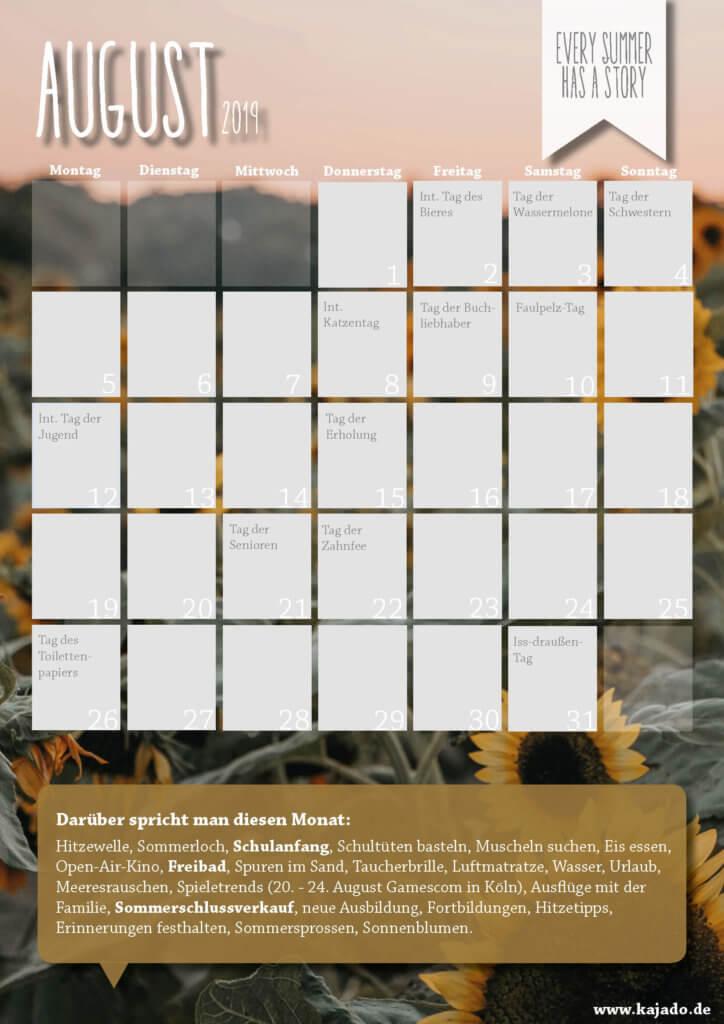 Content Ideen für Ihren Redaktionsplan im August 2019