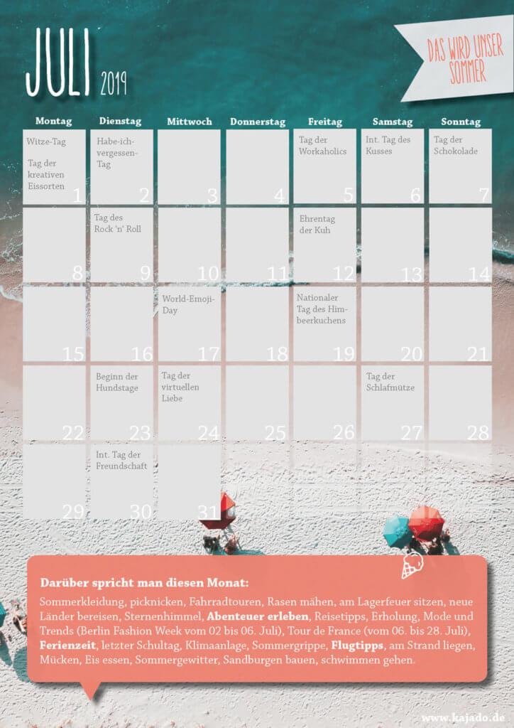 Content Ideen für Ihren Redaktionsplan im Juli 2019